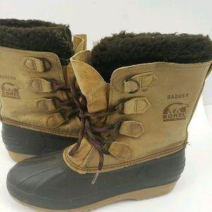 Sorel Badger Women's Brown Suede Snow Boots Size 9